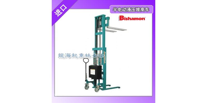 半电动液压堆高车可通过操作杆调节上升和下降速度